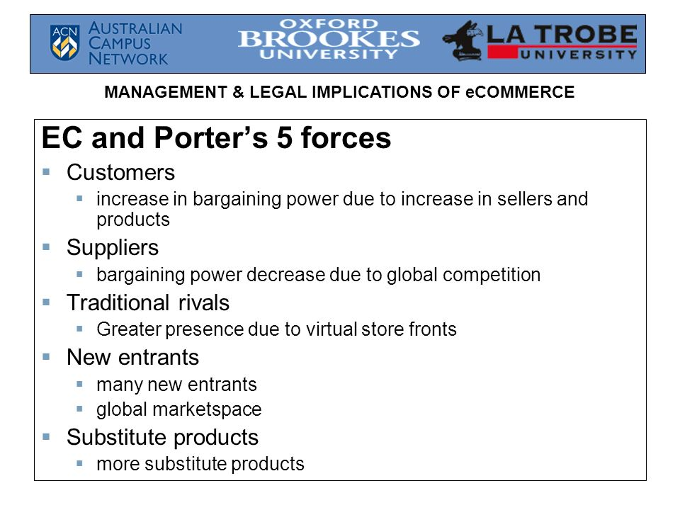 EC and Porter's 5 forces Customers Suppliers Traditional rivals