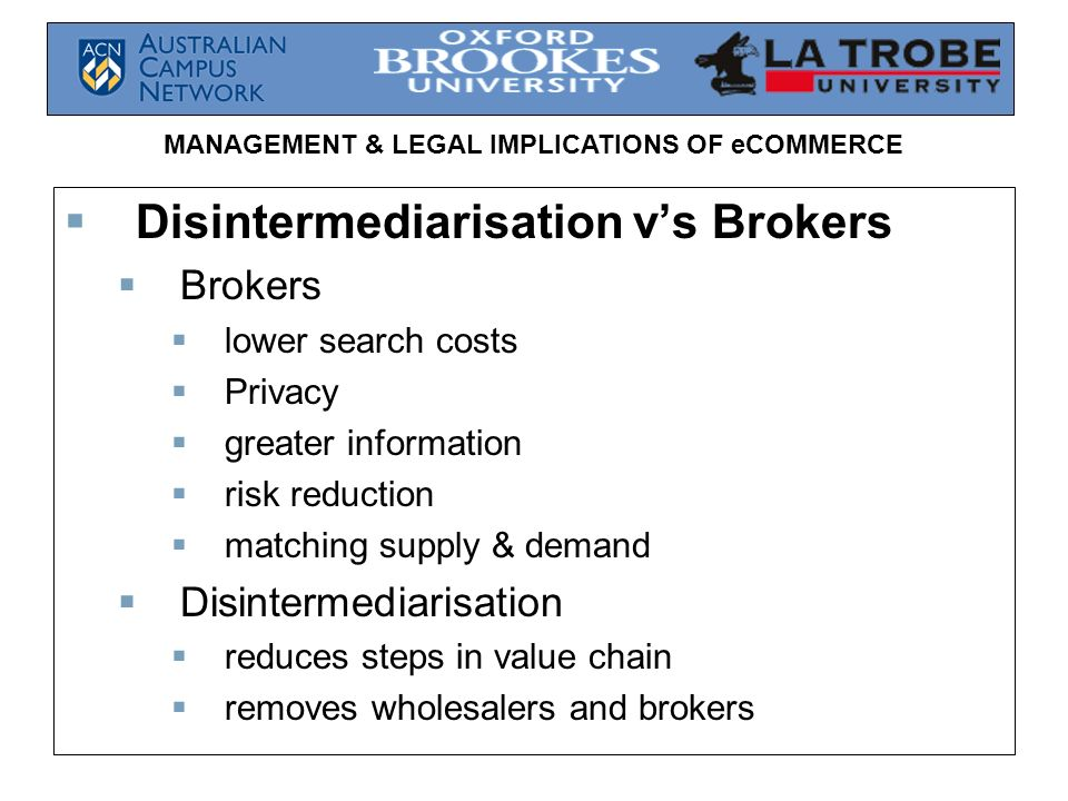 Disintermediarisation v's Brokers