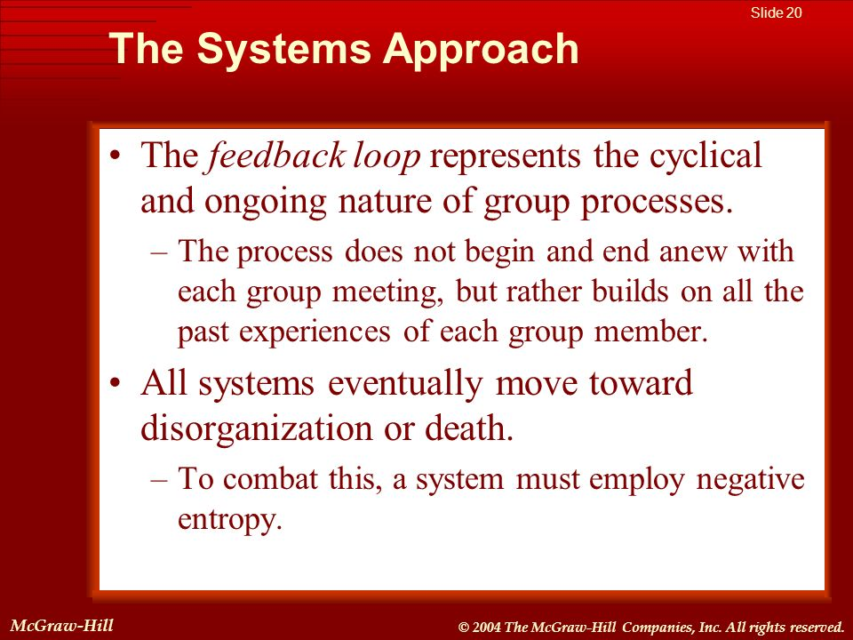 The Systems Approach The feedback loop represents the cyclical and ongoing nature of group processes.