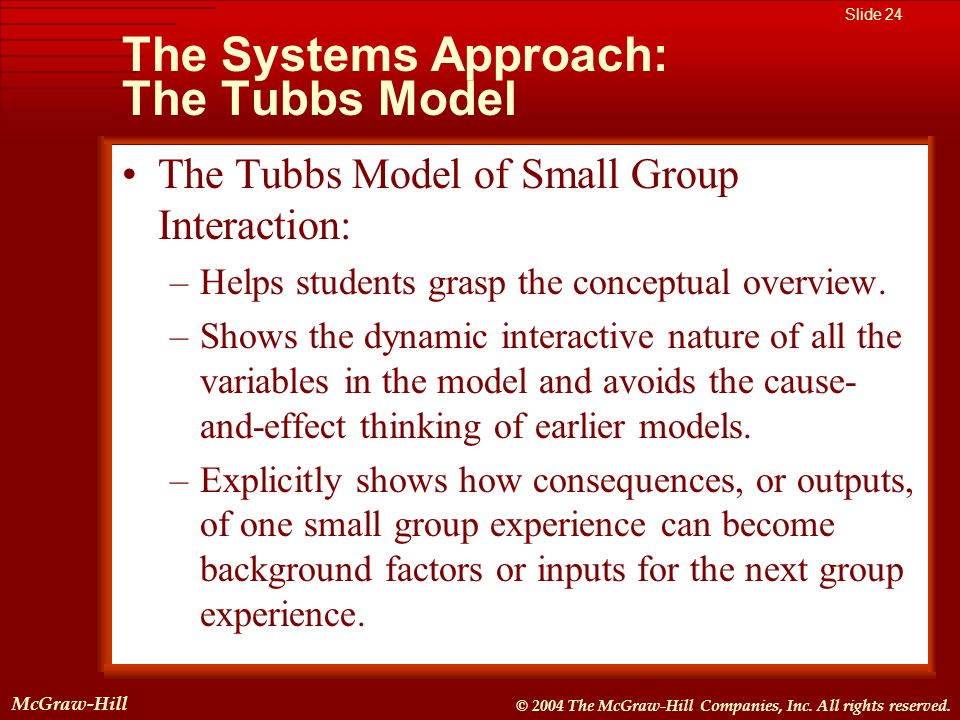 The Systems Approach: The Tubbs Model