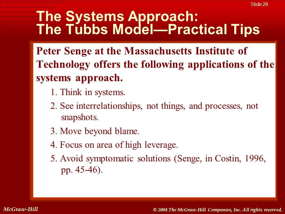 The Systems Approach: The Tubbs Model—Practical Tips
