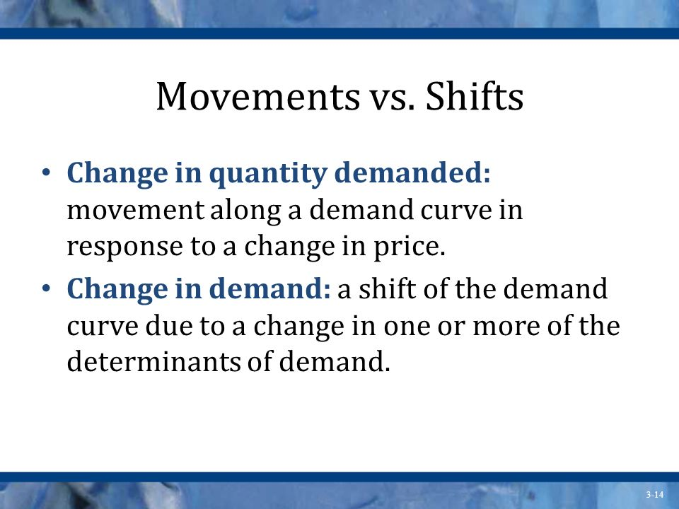 Movements vs. Shifts Change in quantity demanded: movement along a demand curve in response to a change in price.
