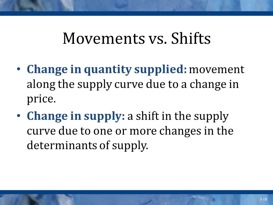 Movements vs. Shifts Change in quantity supplied: movement along the supply curve due to a change in price.