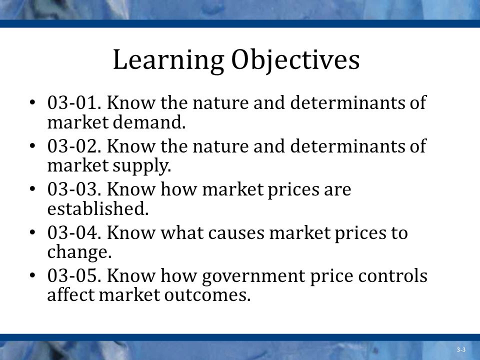 Learning Objectives Know the nature and determinants of market demand Know the nature and determinants of market supply.