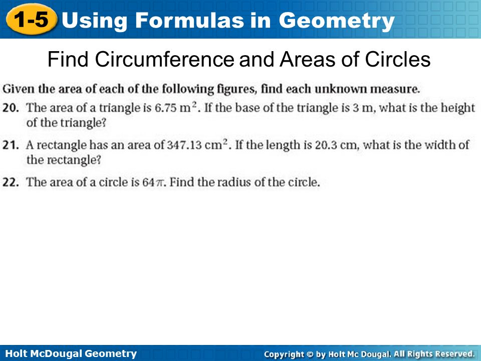 Find Circumference and Areas of Circles