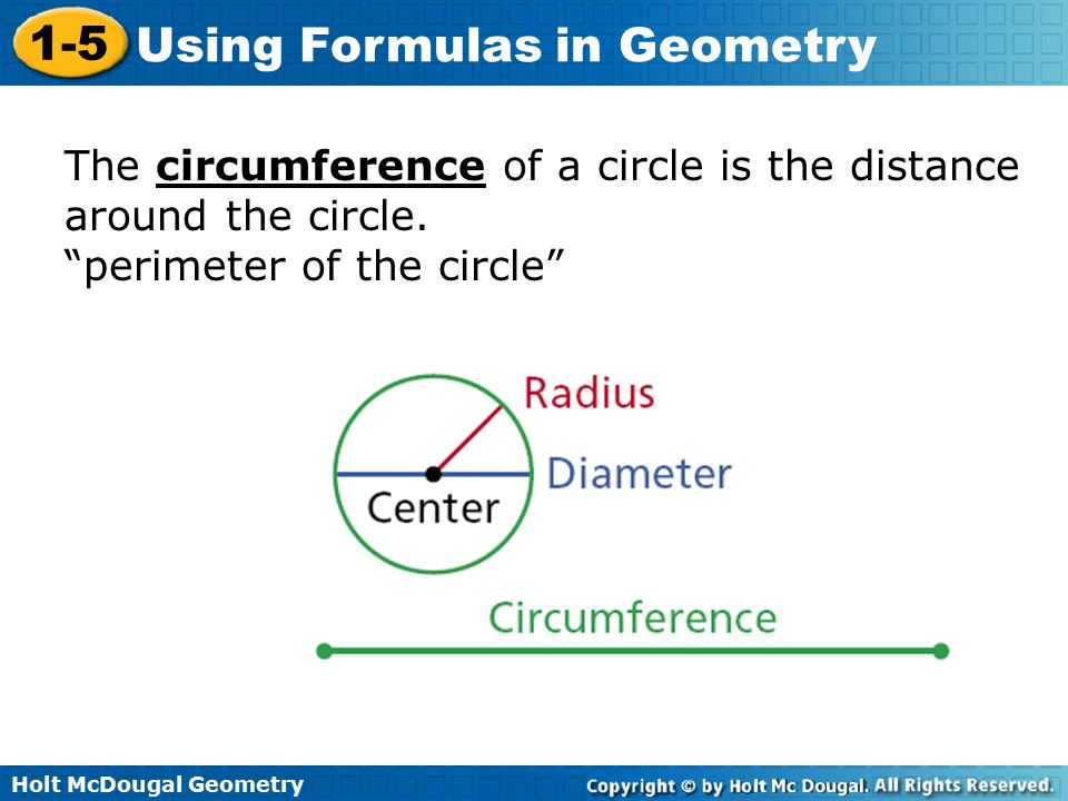 The circumference of a circle is the distance around the circle.