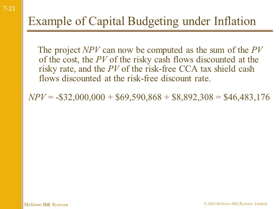 Example of Capital Budgeting under Inflation