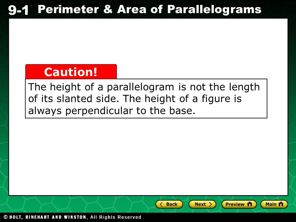 The height of a parallelogram is not the length of its slanted side