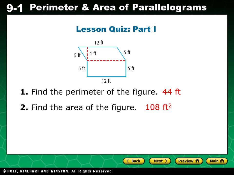 Lesson Quiz: Part I 1. Find the perimeter of the figure.