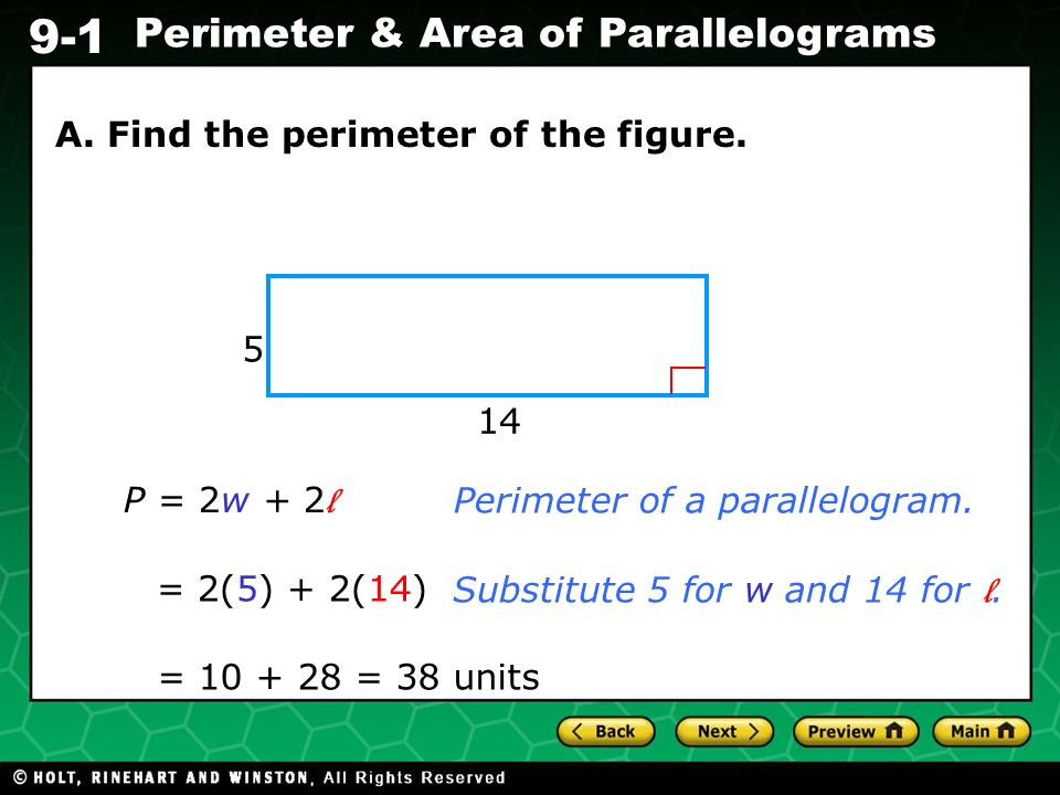 A. Find the perimeter of the figure.