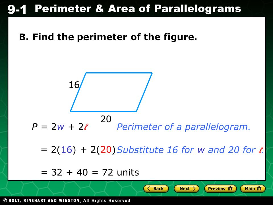 B. Find the perimeter of the figure.