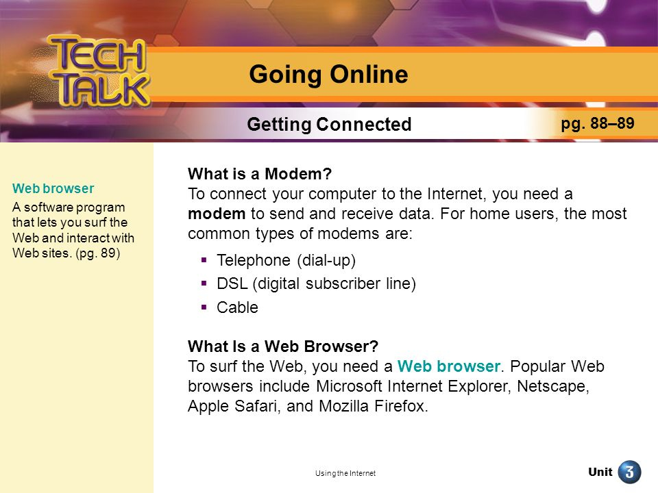 Going Online Getting Connected pg. 88–89 What is a Modem