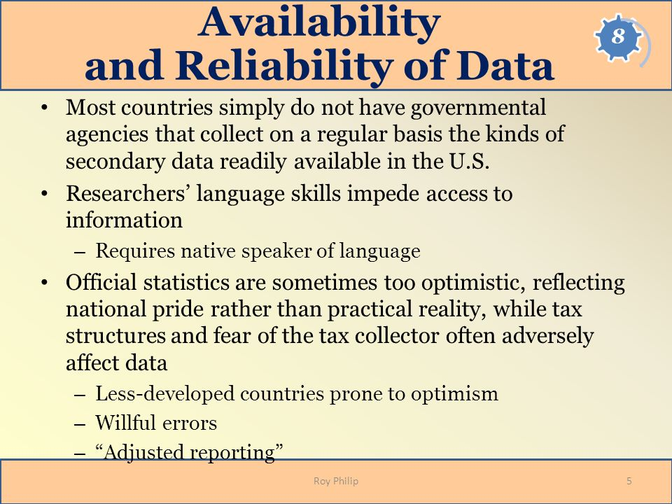 Availability and Reliability of Data
