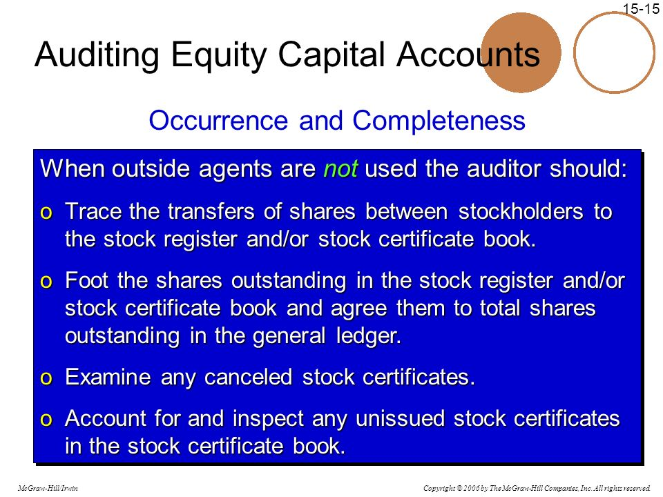 Auditing Equity Capital Accounts
