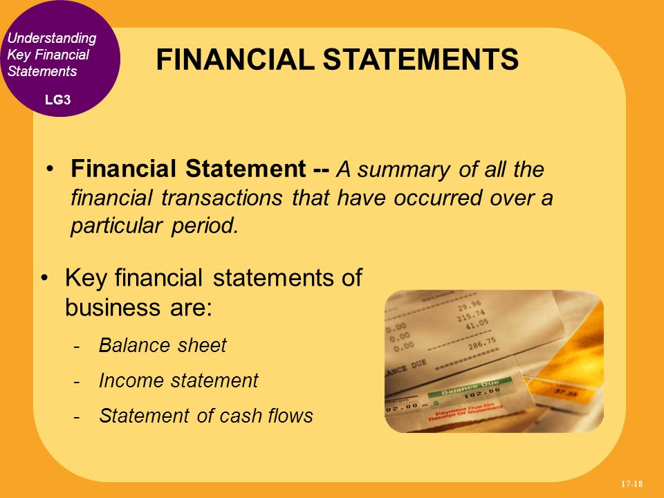 FINANCIAL STATEMENTS Understanding Key Financial Statements. LG3.