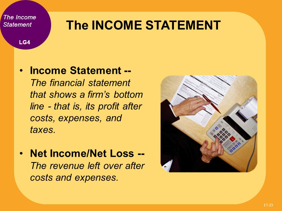 The INCOME STATEMENT The Income Statement. LG4.