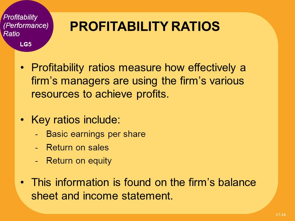 PROFITABILITY RATIOS Profitability (Performance) Ratio. LG5.