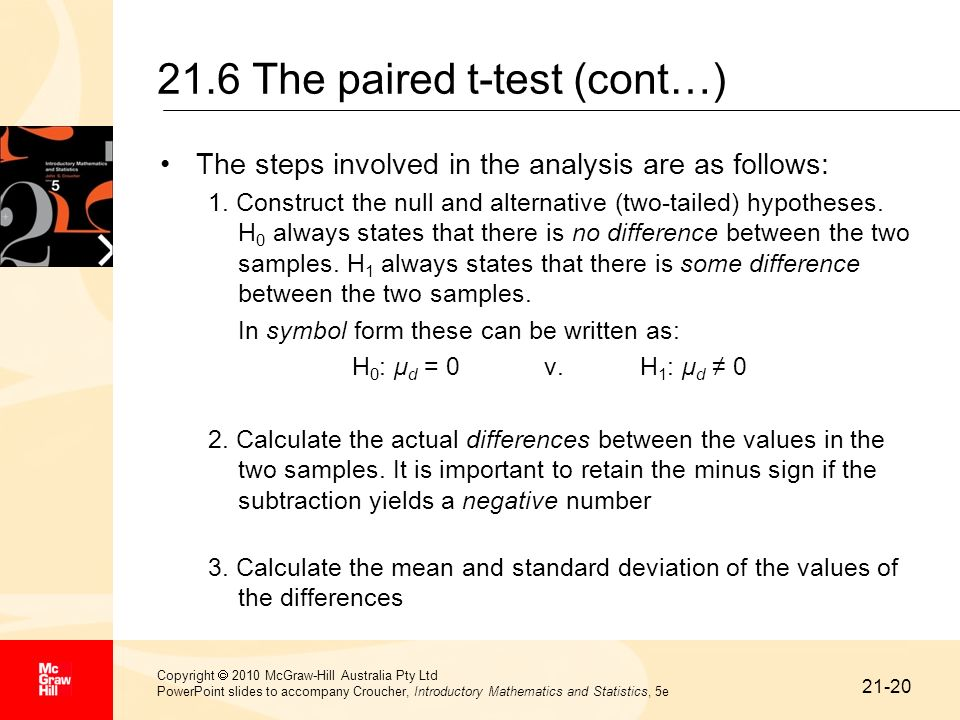 21.6 The paired t-test (cont…)