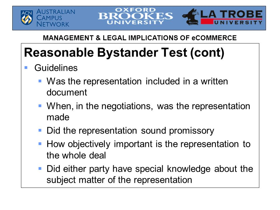 Reasonable Bystander Test (cont)