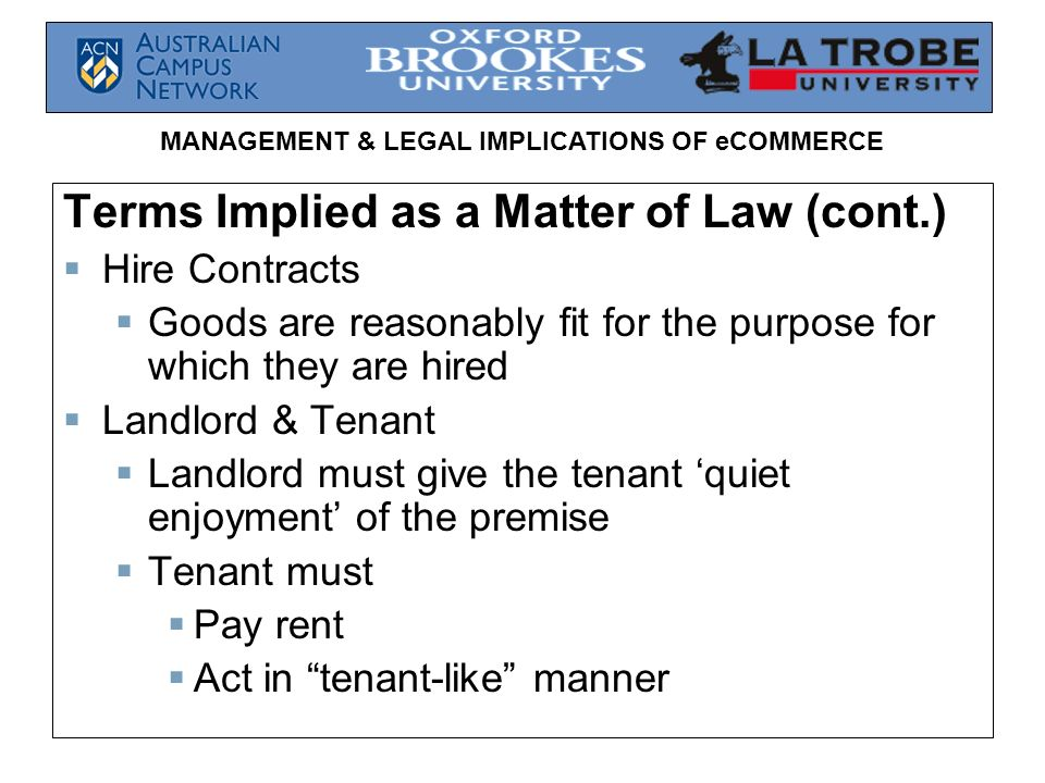 Terms Implied as a Matter of Law (cont.)