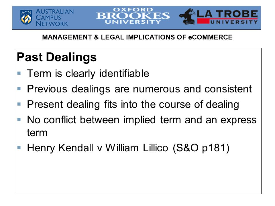 Past Dealings Term is clearly identifiable