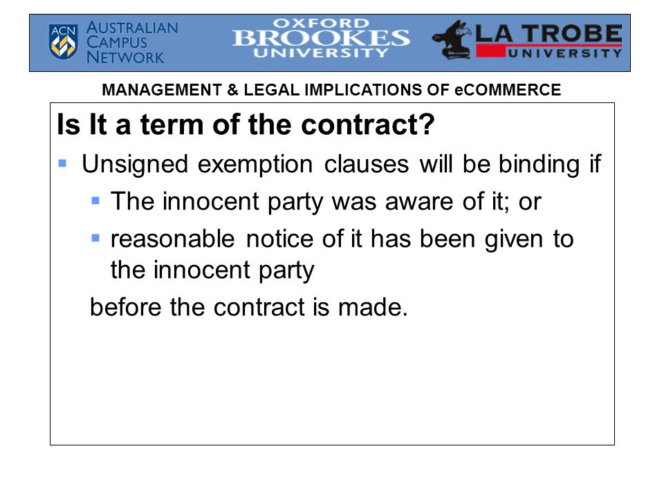 Is It a term of the contract