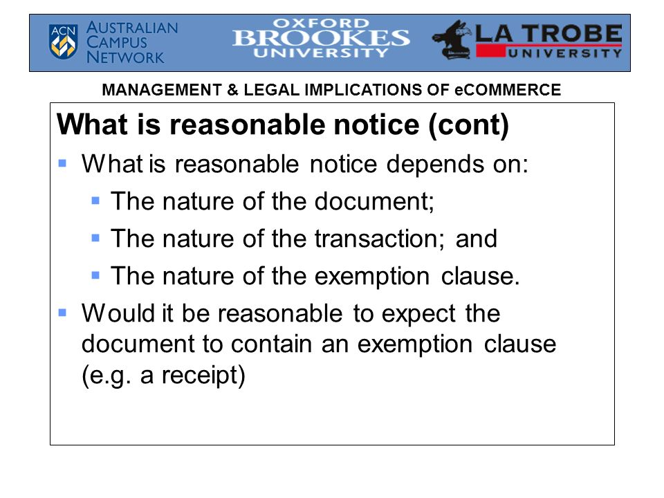 What is reasonable notice (cont)