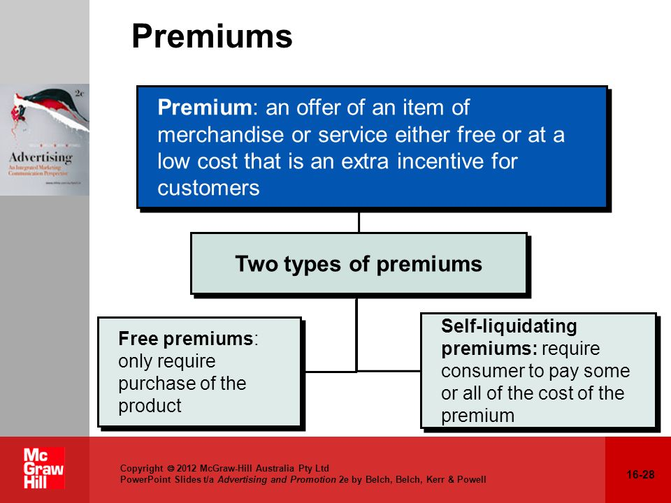 Self liquidating premium marketing definition