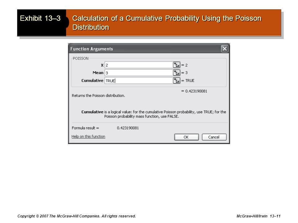 Exhibit 13–3 Calculation of a Cumulative Probability Using the Poisson Distribution