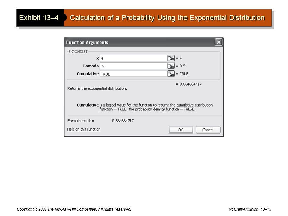 Exhibit 13–4 Calculation of a Probability Using the Exponential Distribution