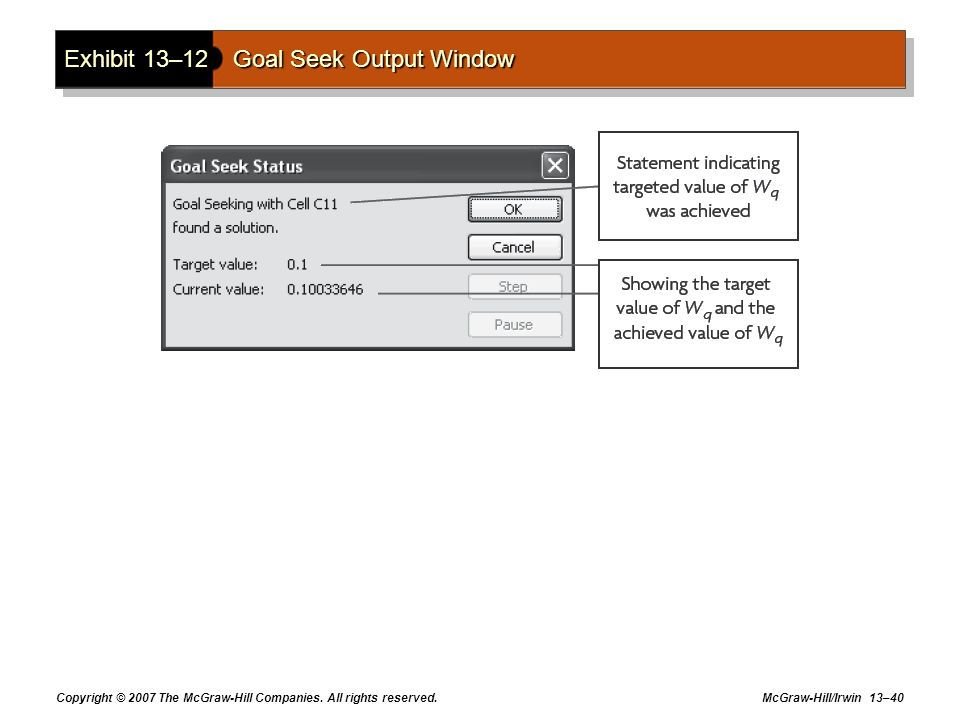 Exhibit 13–12 Goal Seek Output Window