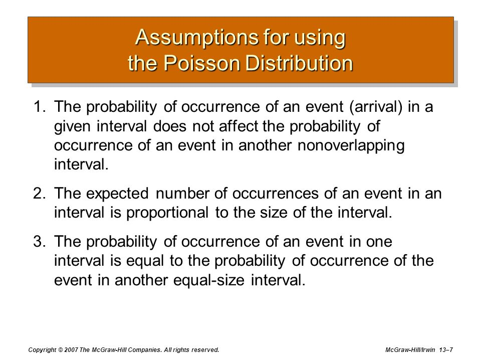 Assumptions for using the Poisson Distribution