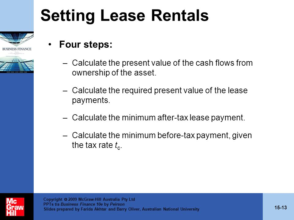 Setting Lease Rentals Four steps: