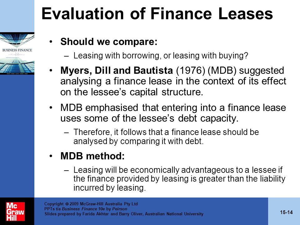 Evaluation of Finance Leases