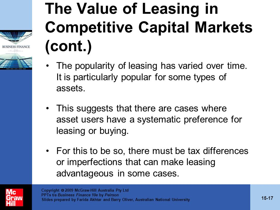 The Value of Leasing in Competitive Capital Markets (cont.)