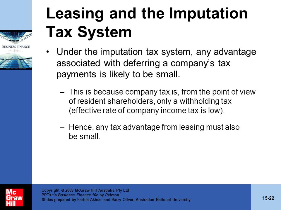 Leasing and the Imputation Tax System