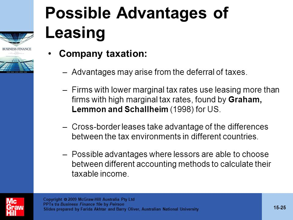 Possible Advantages of Leasing