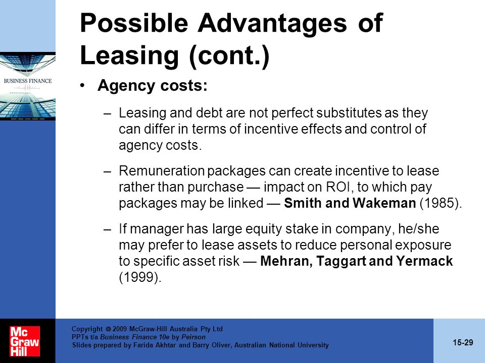 Possible Advantages of Leasing (cont.)