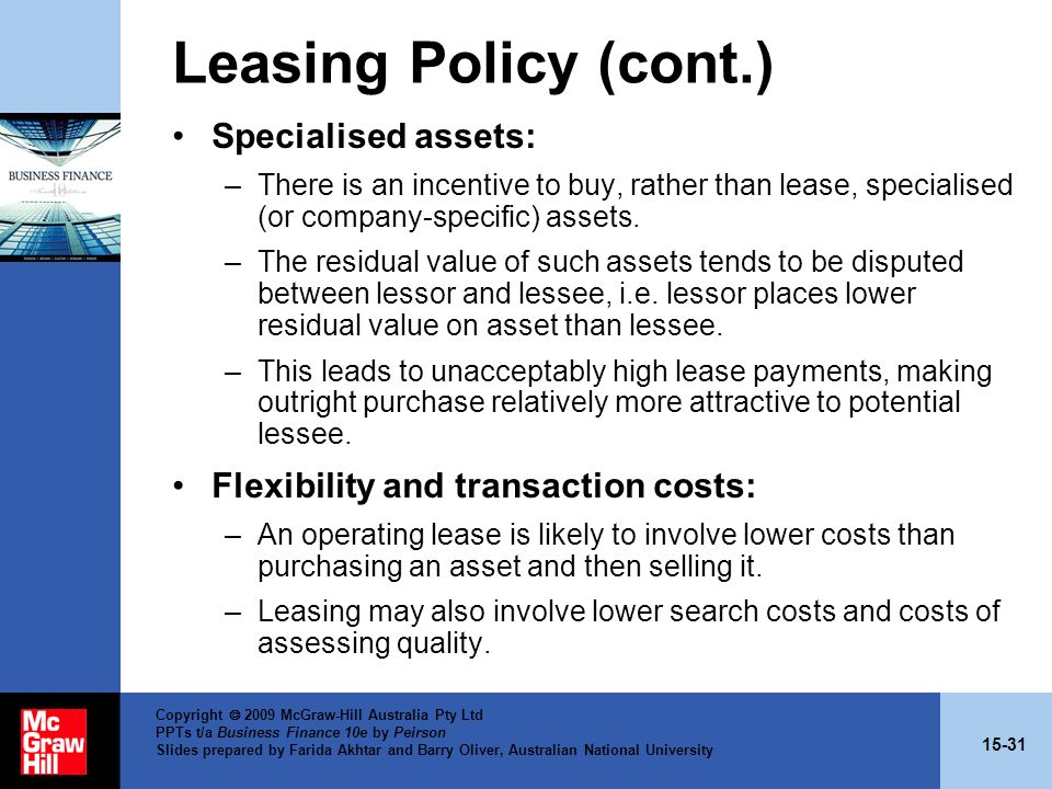 Leasing Policy (cont.) Specialised assets: