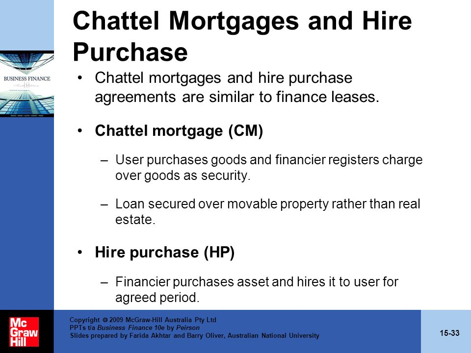 Chattel Mortgages and Hire Purchase