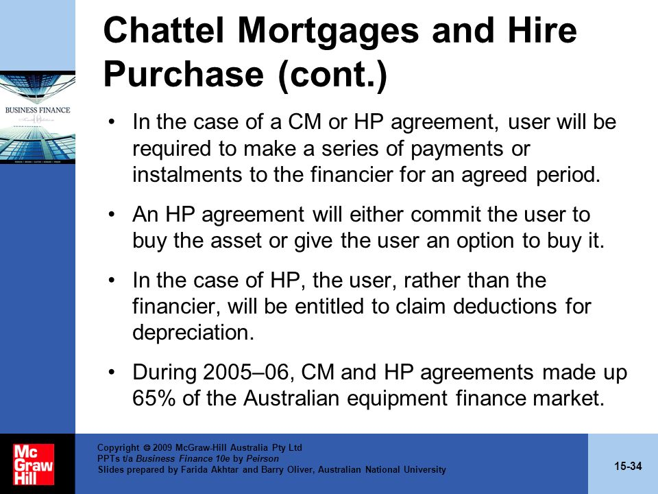 Chattel Mortgages and Hire Purchase (cont.)