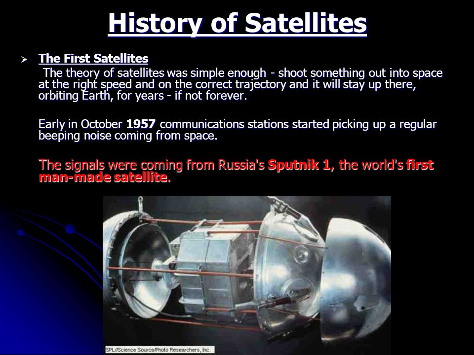 History of Satellites The First Satellites