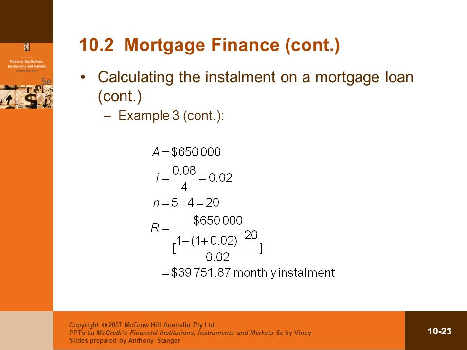 10.2 Mortgage Finance (cont.)