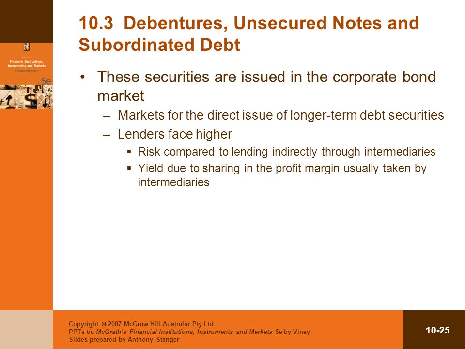 10.3 Debentures, Unsecured Notes and Subordinated Debt