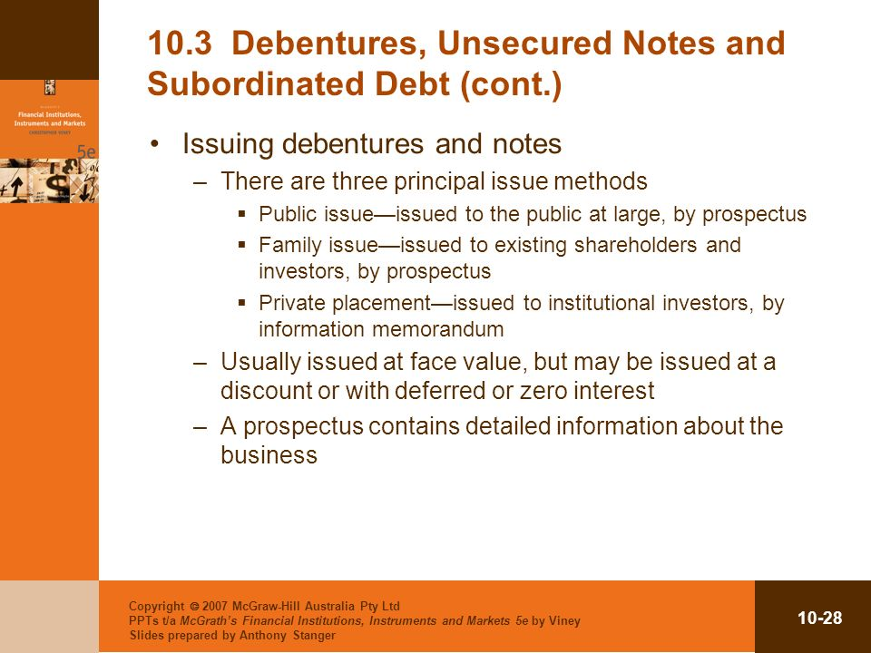 10.3 Debentures, Unsecured Notes and Subordinated Debt (cont.)