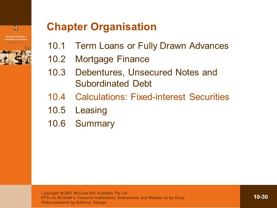 Chapter Organisation 10.1 Term Loans or Fully Drawn Advances