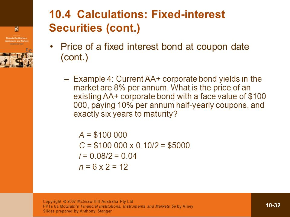 10.4 Calculations: Fixed-interest Securities (cont.)