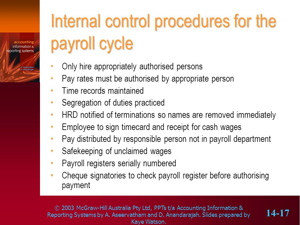 Internal control procedures for the payroll cycle