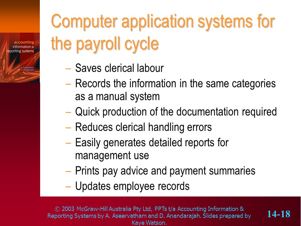 Computer application systems for the payroll cycle