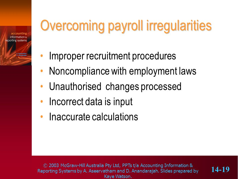 Overcoming payroll irregularities